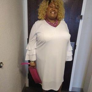 Ashley Stewart tiered ruffle sleeve dress